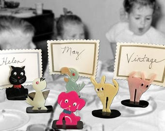 Only FOUR Left! Individually Priced.  Adorable, Rare Vintage Celluloid Novelty Animal Place Card Holders, Circa 1940s, Made in Japan
