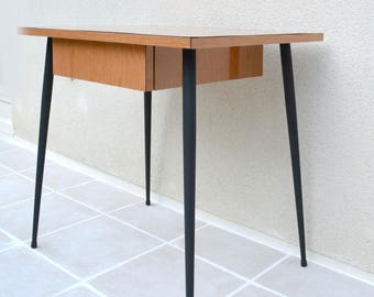 Vintage formica table 50s, Scandinavian style, compass feet.