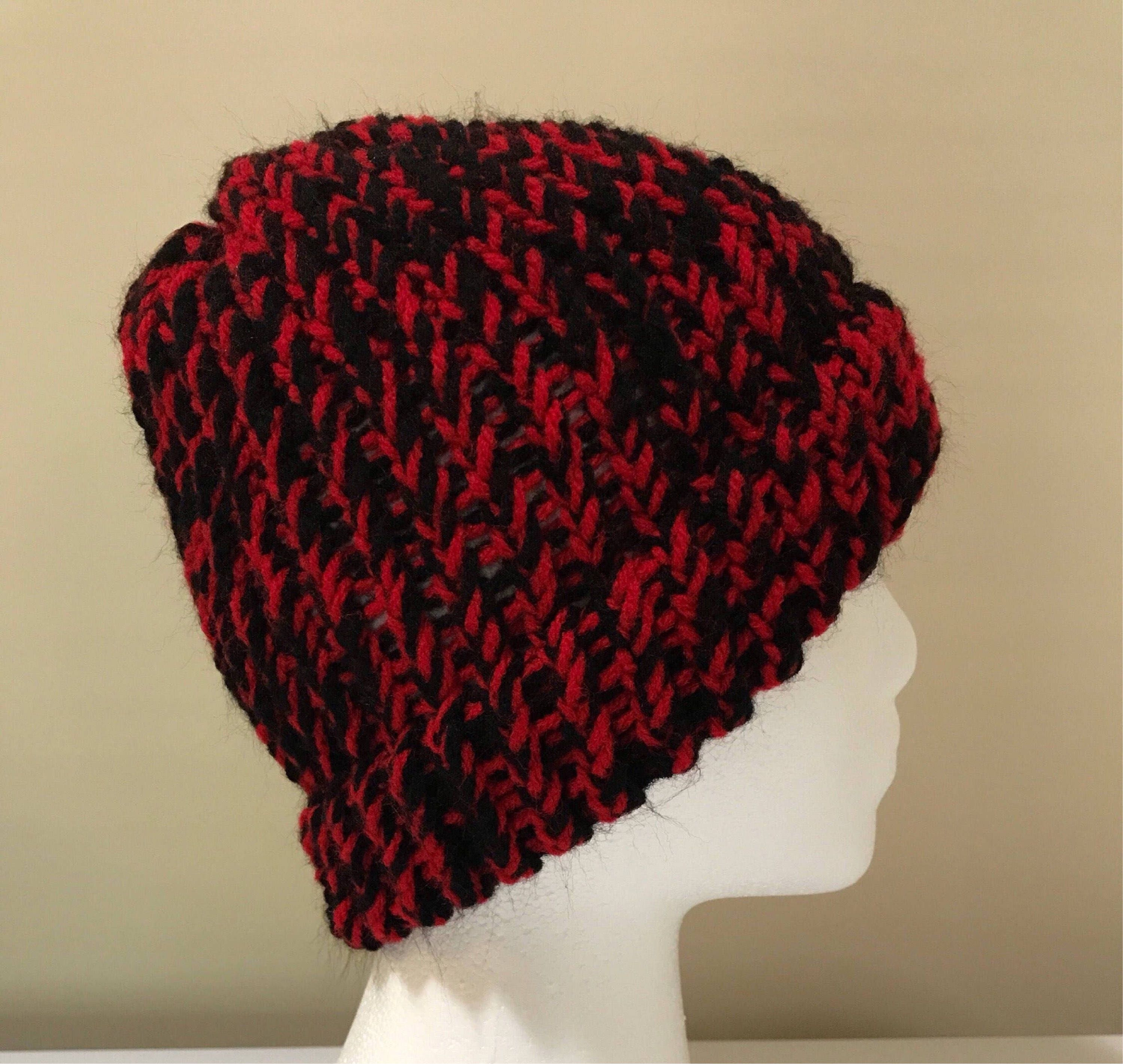 d7bf1dd1733 Loom Knitted Hat - Black   Red
