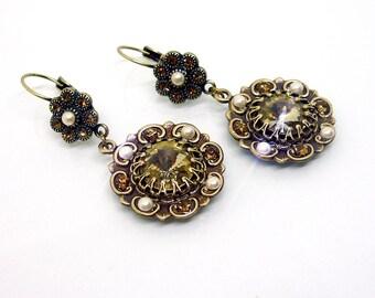 Victorian jewelry Art Deco Earrings Romantic Earrings Victorian Earrings Vintage style Earrings Teardrop Earrings Chandelier Earrings