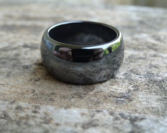 Natural Hematite Gemstone Band Ring Size 7.5 - Hematite Band Ring Size 7 8 - Natural Stone Ring size 7 8  Boho chic Ring Hematite Band ring