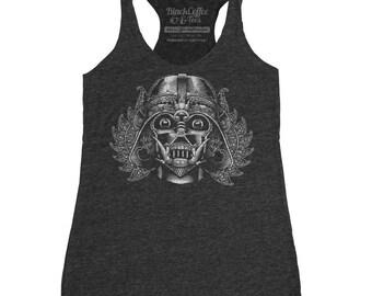 Star Wars T-shirt - Womens Darth Vader Mask Tank Top. Darth Vader wearing a Indonesian Tribal mask hand printed on a womens tank top.
