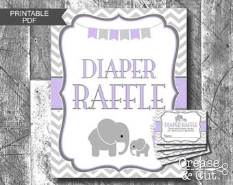 Diaper Raffle Sign Tickets Baby Shower Game Lavender Purple Gray Elephant Girl Baby Shower Game Printable Digital File PDF Instant Download