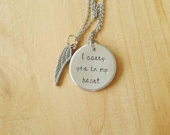 Hand stamped memorial jewelry. Personalized necklace.