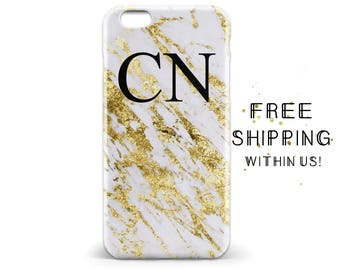 1471 // White Marble Gold Flakes (not real gold) Monogram Initials Custom iPhone 6 iPhone 6 Plus iPhone 5 Samsung Galaxy S5 S6 Phone Case