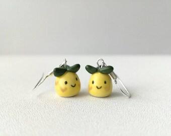 Pineapple earrings, cute ceramic pineapples, sterling silver
