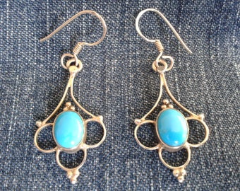 Stunning Vintage Sterling Silver Earrings Set With Turquoise Cabochons
