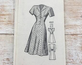 40's Sewing Pattern Anne Adams 4661 Mail Order Women Dress Size 20 Bust 38 Complete Pre-cut, Unprinted, unused paper pattern--factory folded