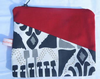 """Two-tone bag pouch, printed """"Aztec"""""""