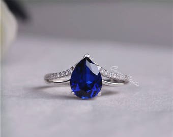 Pear Sapphire Ring Sapphire Engagement Ring/ Wedding Ring 925 Sterling Silver Ring White Gold Plated Anniversary Ring