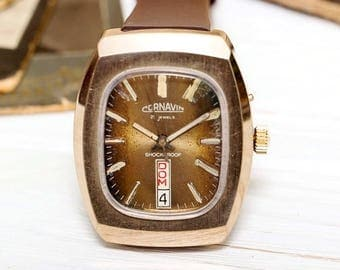 Vintage Slava Glory Gold Plated USSR Russian Soviet Mens Watch with new leather strap