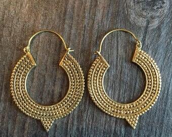 Brass hoops, ethnic look hoops, ethnic brass hoops, long brass earrings, long brass hoops, big ethnic hoops