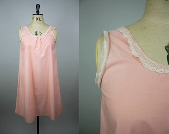 1920s Nightgown / 20s Cotton Nightdress / Pink Cotton Slip / Cotton Lace Edging / Size Large / M L