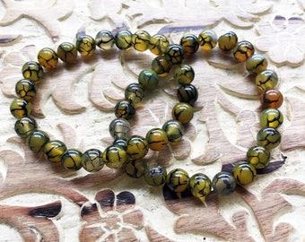Dragons Vein Agate bead (8mm) Bracelet