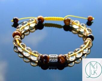 Gemini Citrine Tigers Eye Birthstone Bracelet 7-8'' Macrame Healing Stone Chakra Reiki With Pouch FREE UK SHIPPING