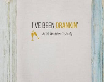 5 Bachelorette Party Favor, Hangover Kit, Survival Kit, Recovery Kit, Emergency Kit, Custom Bachelorette Party Bags - I've Been Drankin'