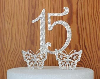 Large Quinceanera 15 Birthday cake topper in crystal rhinestones Number 15 anniversary  Butterfly cake topper