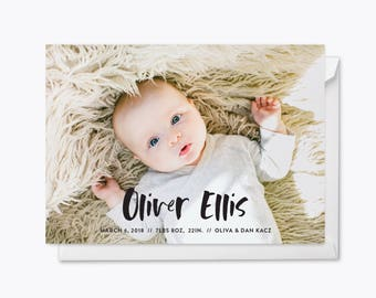Brush Lettered Photo Baby Announcement Printable