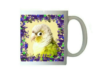 Purple Floral Cinnamon Green Cheek Conure 11oz Ceramic Coffee Mug