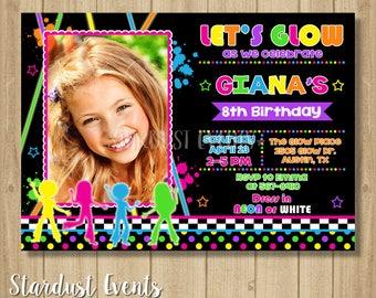 Glow Birthday Invitation, Glow Party Invitation, Glow Invitation, Neon Birthday Invitation, Glow Photo Invitation, Neon Invitation