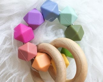 SUMMER SALE Wooden Teething Toy Baby Gift Wooden Teether Waldorf Toy Montessori Baby Toy Sensory Teether
