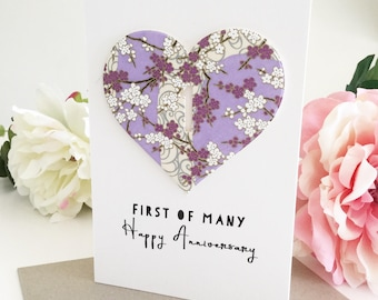 First Anniversary Card, First of Many, 1st Anniversary Gift , One Year Anniversary, Paper Wedding Anniversary Gift for Couple, 365 days