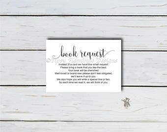 Book Request, Baby Shower Bring a Book, Baby Shower Invitation Insert Card, Baby Library, Gender Neutral, Digital PDF Instant Download T404D
