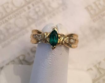 Vintage 10k yellow gold Marquise Cut 6x3mm Created Emerald and 6 Diamond Ring .06 tw, size 7
