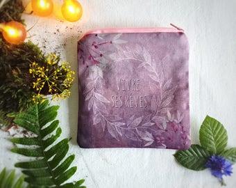 Porte-monnaie bohème femme, jolie pochette tissu pour maquillage, peinture couronne feuille, cadeau pour femme, pochette huiles essentielles