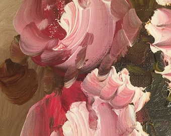 Vintage Framed Signed Pink Roses Painting on Canvas