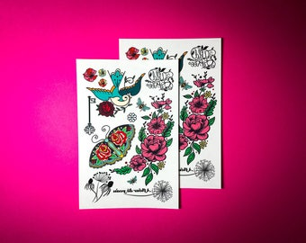 Temporary Tattoos - Wild and Free // Flower tattoos // gifts under 10