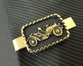 "COOL Old Classic Car Tie Clip Clasp Bar Gold Tone Black 1.5"" 4cm"