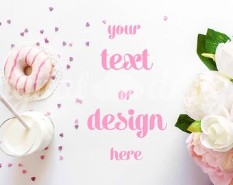 Peony Donuts  Photography Mockup White Desktop Stationery Styled Stock Mock up Social Media  Mockup Digital Background Brand Product