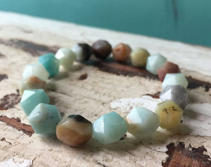 Beach Daze | Stackable Mala Inspired |Spiritual Junkies | Chunky 10 mm | Mixed Amazonite Nugget Bracelet | Yoga + Meditation | 1 Bracelet