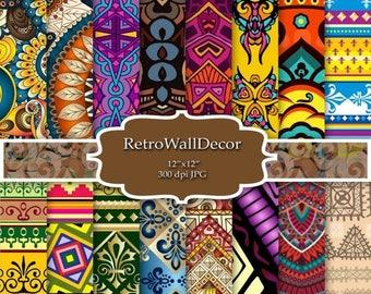 30%OFF Ethnic Digital Paper , Exotic paper pack ,  Geometric triangles , Ikat Digital Paper Paper 12x12 Buy 2 Get 1 FREE