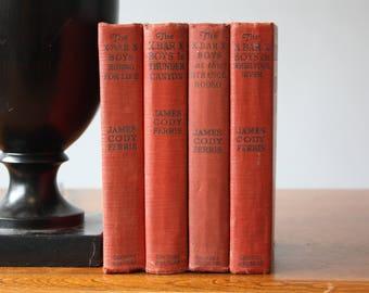 Red Books, Vintage Books, Antique Books, Vintage Collection, Book Décor, Wedding Decor, Home Decor, Centerpiece, Office Décor, Book set