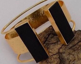 gold plated bracelet,black onyx gemstone bracelet,designer bracelet,stylish bracelet,broad bracelet