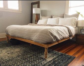 the natalie platform bed platform bed king bed frame rustic bed wood - Wood Bed Frame King