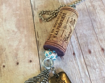 Charm Necklace - Upcycled Wine Cork Necklace - Recycled Wine Cork Necklace - Natural Wine Cork Necklace - Inspiring Necklace