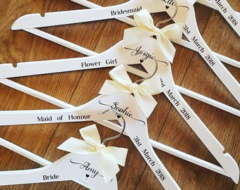 Personalised Wedding Coat Hangers, Clothes Hangers, White Wooden Clothes Hangers, Bride, Groom, Bridesmaid, Matron of Honour,