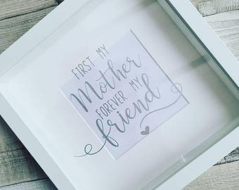 Mother Box Photo Frame, First My Mother Forever My Friend Picture Frame,  Mother's Day Gift, Home Décor, Mother Hanging Frame, Gift For Mum