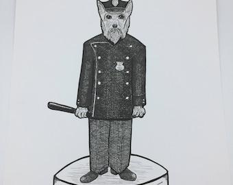 Puppy Police Dog Original marker ink illustration