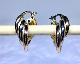 18k solid gold tri-Color gold earring