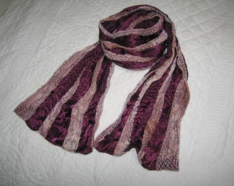 Artificial silk and lace scarf scarf