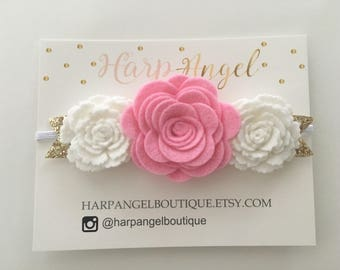 Pink & White Wool Felt Rose Flower Crown Headband or Hair Clip Gold Silver Leaves Newborn / Baby / Toddler / Girls Headband