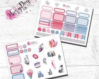 Precious Gems Pink - 2 pages of Precious Gems & Minerals, Personal, Pocket, Planner Stickers. ECLP, Kikki.K Filofax, Happy Planner