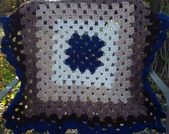 Granny Square in Coffee, Chocolate, Beige and Blue, Retro, Rustic, Cottage Chic Style Handmade Crochet Home Decor Heirloom Ready to Ship