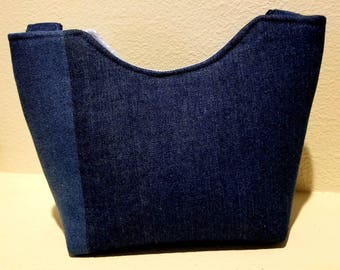 Blue Denim Two Toned Tote/Purse