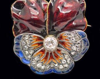 Antique Pansy Brooch Gold Diamonds Plique A Jour Enamel (#4212)