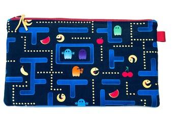 Pacman Multi Purpose Zipped Bag, Makeup Bag, Small Craft Project Bag, Gadget Bag, Pencil Case, Video game, Handmade in the UK